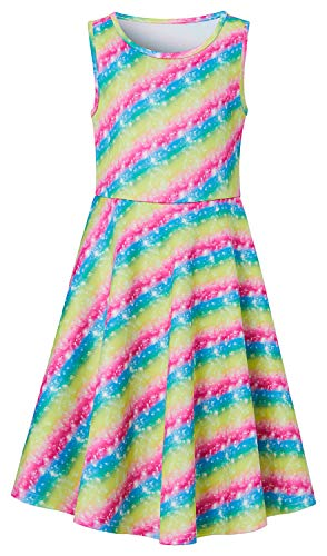 Rainbow Sundresses for Teenager Girls Age 10-12 13 Hawaii Luau Graphics Colorful Stripes Printed Crew Neck Sleeveless Midi Long Young Fairy Childrens Belle Dress Formal Gala Birthday Party Wear -