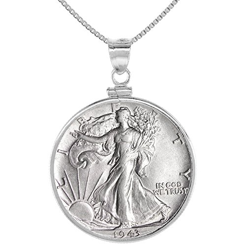 (Sterling Silver Walking Liberty Half Dollar Coin Necklace Screw Top Bezel 1916 -47)