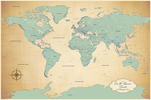 Personalized Push Pin World Map World Map With Pins Office Map - Map of the world antique style