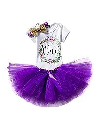 Baby Girl It's My 1st Birthday Outfits Romper+Dress+Headband Cake Smash Crown