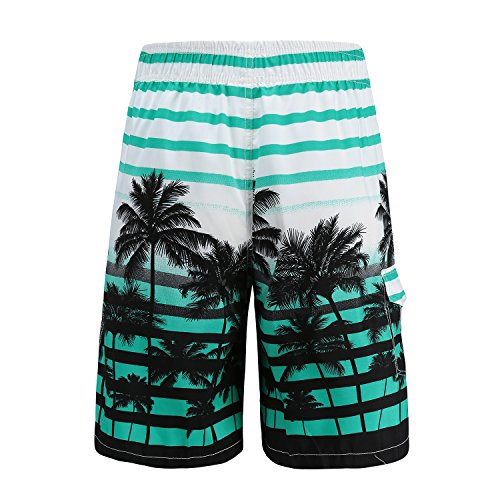 33d3af10e1 ALiberSoul Men's Coconut Tree Print Tropical Design Boardshorts (US XS, ...