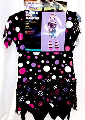 [Black Pink Monster Polka Dot Child Teen Costume L 12-14 NIP] (Polka Dot Monster Teen Costumes)