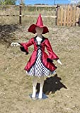 Girls 6-8 4 piece red Hocus Pocus Witch in crushed velvet