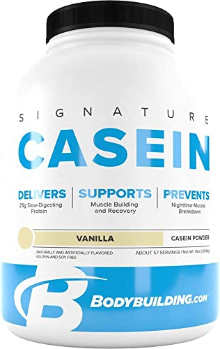 Bodybuilding Signature Casein Protein Powder Vanilla Slow Release Micellar Casein Rich in Amino Acid 4lbs, 55 Servings