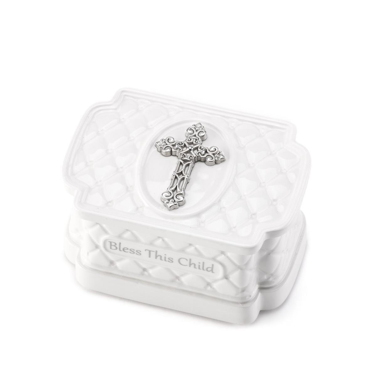 DEMDACO Bless This Child Classic White Dolomite Childrens Keepsake Box with Rosary