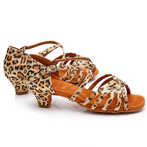 Heel Salsa Women LP XGG Dance Latin Leopard HROYL Shoes Shoes Dance Low Ballroom Satin Performance 8HgWxdwYq