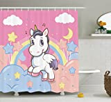 Cheap Ambesonne Girls Shower Curtain Set Kids Decor, Unicorn with Rainbow Music Notes Clouds in The Sky Decorative Artwork, Bathroom Accessories, with Hooks, 75 inches Long, Pink Yellow
