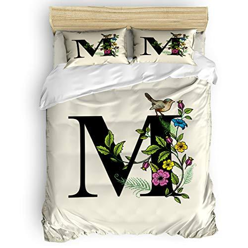 TweetyBed 4-Piece Bedding Sets, Retro Alphabet Letter M Flower Bird Duvet Cover Set Bedspread for Childrens/Kids/Teens/Adults, 100% Cotton, Queen Size