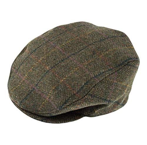 Dents Mens Abraham Moon Yorkshire Tweed Flat Cap - Olive Green - Extra -