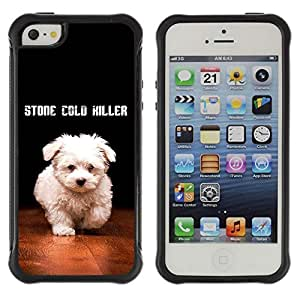 Hybrid Anti-Shock Defend Case for Apple iPhone 5 5S / Cute Stone Cold Dog