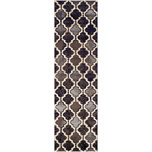 Superior Modern Viking Collection Area Rug, 8mm Pile Height with Jute Backing, Chic Textured Geometric Trellis Pattern, Anti-Static, Water-Repellent Rugs - Chocolate, 27 x 8 Runner