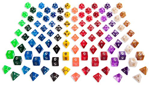 RPG Dice Pack of 105 Polyhedral Dice 15 Complete Sets of 7 Dice 15 Different Colors - Black Velvet Bag Included