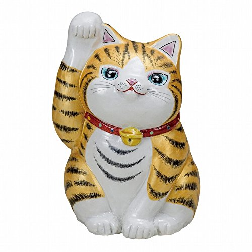 Jpanese traditional ceramic Kutani ware. Lucky charm ornament. Beckoning cat. Golden leaves. With paper box. ktn-K5-1588