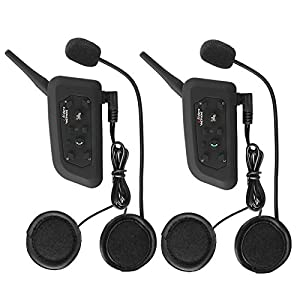 Motorcycle Helmet Bluetooth Headset Intercom Full-face Sports Speaker Low Profile Wireless Headphone 6 Riders Communicator 500m Talk for Riding, Trip, Cruise, Offroad, Snow Vnetphone(2 Pack)