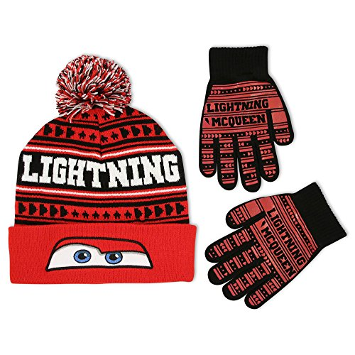 Disney Little Boys Lightning Mcqueen Hosiery Acrylic Knit Cuffed Winter Beanie Pom Hat with Matching Glove Set, Red, One Size