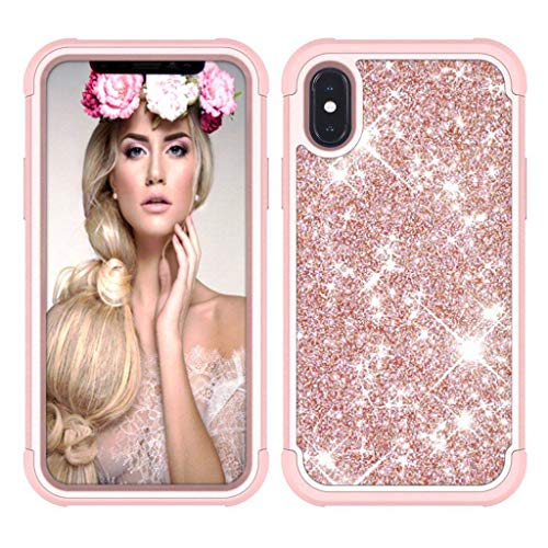 Suitable for iPhone 6 / 6s / 6plus / 6splus / 7/8 / 7plus / 8plus / X/XS/XR/XS Max Phone Shell, Three Anti Glitter Drop Resistance Protective Sleeve-Rose Gold-X/XS