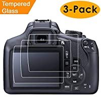 Protector de pantalla compatible con Canon EOS Rebel T6 T5 1300D 1200D, 3 paquetes Protector de pantalla de vidrio templado Kimilar impermeable Clear Touch 9H Compatible Canon EOS Rebel T6 T5 1300D 1200D