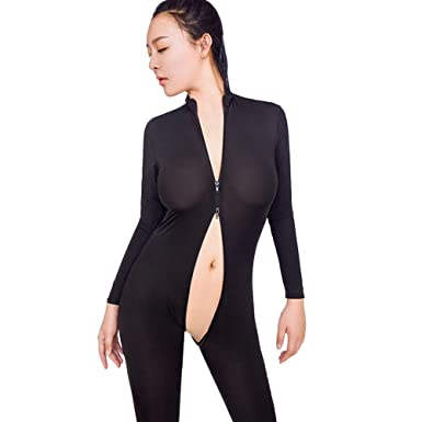 d3af64a1b3 Deloioto Women Sexy Bodysuit Zipper Long Sleeve Open Crotch Lingerie  Jumpsuit Striped Bodystocking Crotchless Sheer Sex (Black  1
