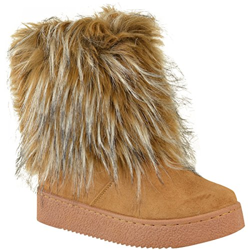 Fashion Thirsty Womens Flat Faux Fur Furry Winter Ankle Boots Low Heel Fluffy Casual Size 9 -