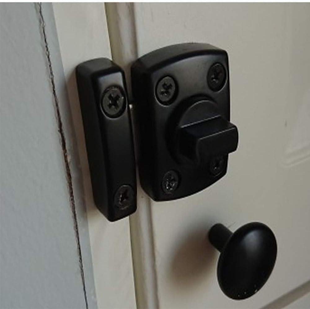 Cierre de la puerta del baño de aleación de zinc Cierre de la puerta del cerrojo giratorio Cerradura de la puerta, puerta corredera puerta corredera que encaja el pestillo pequeño (negro),L: Amazon.es: