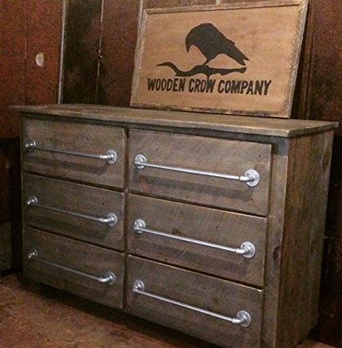 Reclaimed Wood Six Drawer Dresser with Industrial Pulls - Cottage 6 Drawer Chest