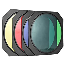 Andoer Adjustable Mount Barn Door Kit with 4 Color Gel Filters (Red/Green/Blue/Yellow) & 60 Degree Honeycomb Grid for 170-210mm Reflector Diffuser Lamp Shade Dish