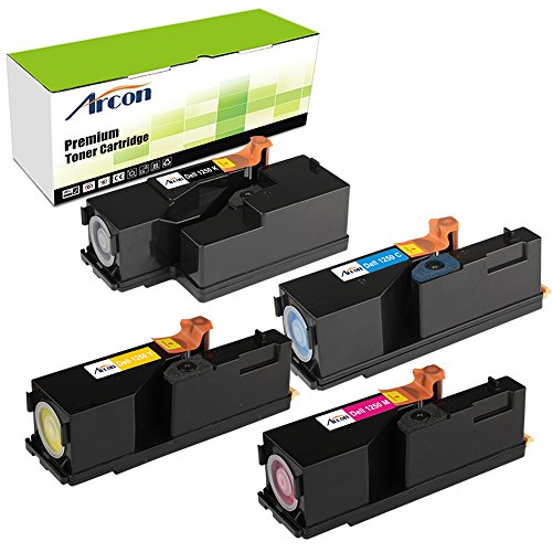 Arcon 4 Set Color Replacement Dell C1760nw C1765nfw C1765nf 1355cnw 1350cnw Toner For Dell 1250 1250c (e-331-0779 )Toner Cartridge - Black Yellow Cyan Magenta