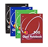 quad spiral - RamPro #007 Quad-ruled Spiral Notebook 100 Count, Assorted Colors (10 1/2 Inches X 8 Inches) (8-Pack)