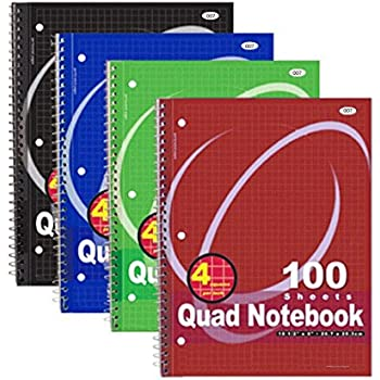 RAM-PRO Quad-ruled Spiral Notebook 10-1/2 X 8 Inches, Assorted Colors, 100 Count (007) [4-Pack]