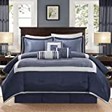 7 Piece Navy Blue Silver Color Block Comforter King Set, Blue Bold Border Adult Bedding Master Bedroom Stylish Solid Color Pattern Classic Elegant Themed Traditional, Polyester Dupioni