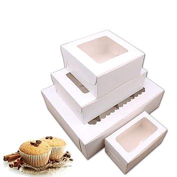 WindGoal - Juego de 4 cajas para cupcakes con inserciones para pasteles, magdalenas, magdalenas, magdalenas, cupcakes, para bodas y fiestas de cumpleaños: ...