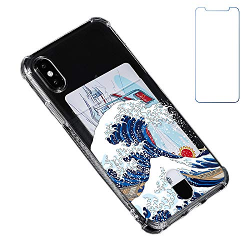 Blue Japanese Wave Wallet Case Compatible for iPhone Xs/X 10(5.8 inch) with Card Holder Slot Ultra-Slim Thin Soft TPU Clear Cover Compatible for iPhone XS/X/10 with Screen Protector