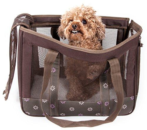 Posh Fashion - PET LIFE 'Surround View' Posh Collapsible Fashion Designer Pet Dog Carrier, Medium, Mud Brown