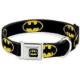 "Buckle Down Seatbelt Buckle Dog Collar - Batman Shield Black/Yellow - 1.5"" Wide - Fits 13-18"" Neck - Small"
