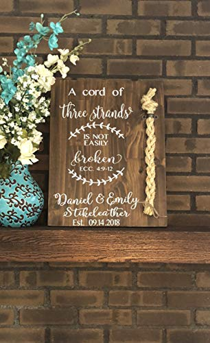 Ruskin352 A Cord of Three Strands Sign Alternative Wedding Unity Sign Tie The Knot CeremonyStrand of Three Cords Sign Unity Cord Wedding Sign -