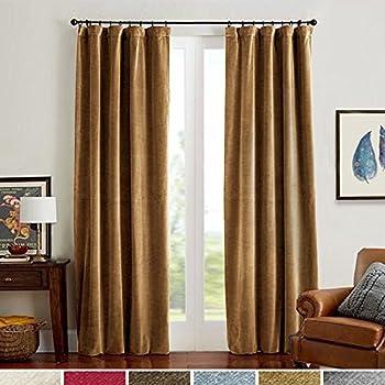 room darkening velvet curtains 84 gold brown drapes for bedroom thermal insulated rod pocket