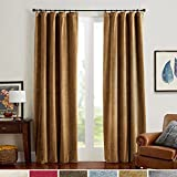 Room Darkening Velvet Curtains 84 Gold Brown/ Drapes For Bedroom, Thermal  Insulated Rod Pocket (1 Panel, 52 By 84 Inch, Gold Brown)