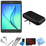 Samsung Galaxy Tab A 8-Inch Tablet (16 GB, Smoky Titanium) 16GB Memory Card Bundle includes Tablet, 16GB Micro SD Memory Card, Headphones, Sleeve, 3 Stylus Pens, Lens Cleaning Kit and Micro Fiber Cloth