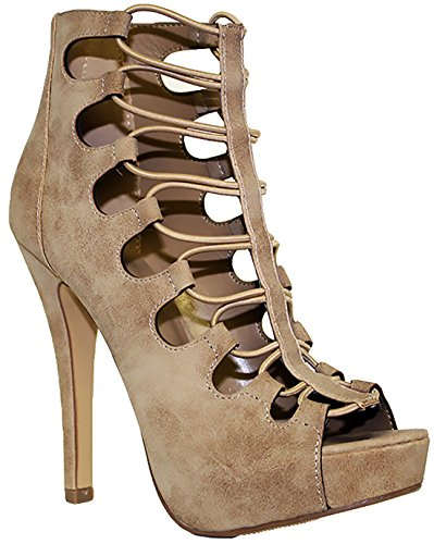 1381c875d Delicious Patron Women's Platform Lace Up Heels MVE SHOES PATRON SH TAUPE  ST SIZE 10 - Buy Online in Oman. | Apparel Products in Oman - See Prices,  ...