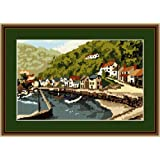 Brigantia Needlework Lynmouth Harbour Tapestry Picture Kit in Tent Stitch