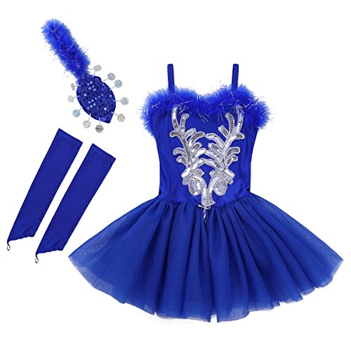ranrann Kids Girls Swan Lake Sequins Beads Ballet Gymnastic Leotard Tutu Dress with Gloves Hair Clip Blue -