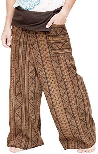 BohoHill Fisherman Pants Full Patterned Tribal Stripe (Extra Long, Brown Mayan)