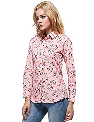 Xi Peng Women's Tops Feminine Vintage Blouse Button Down Floral Shirts (Large, Pink) - Pink Floral Shirt