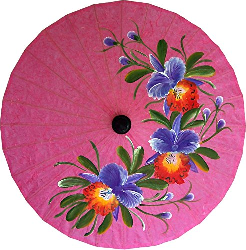 Umbrellas Painted Hand (Oriental-Decor Pink Flowers Hand Painted Umbrella 35 Inch)