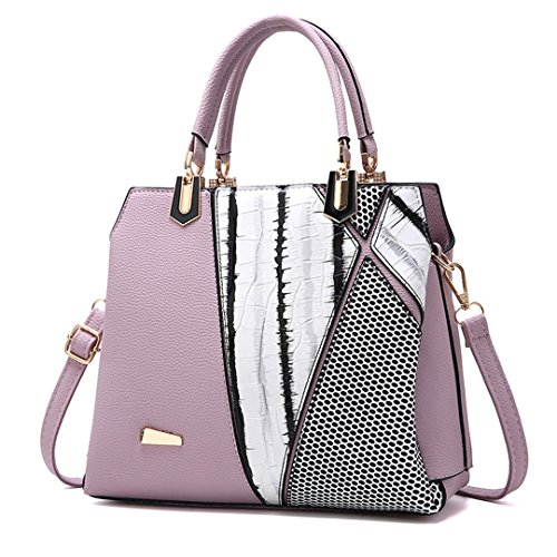 Ladies Pu Casual Large Handbag Purple Fashion Capacity Rivet Bag waYcfnqf