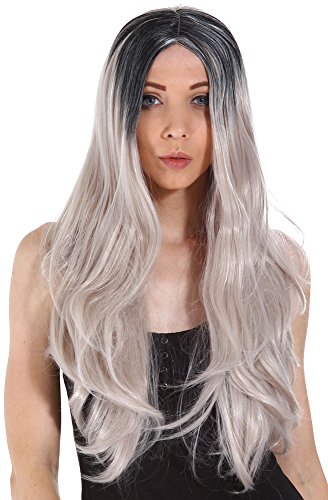 [Gardinesca Long Straight Two Tone Black & Grey Ombre Full Hair Wig] (Halloween Costumes Elvira)