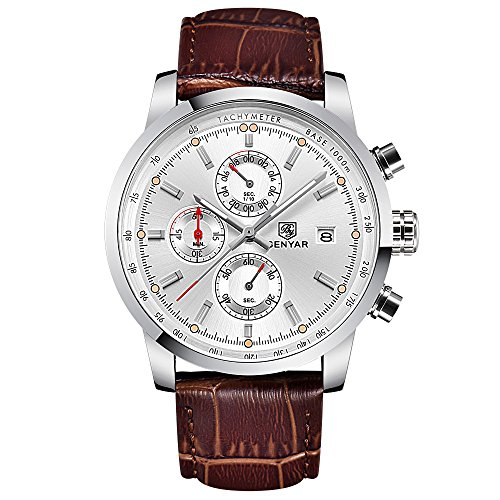 (Men's Quartz Watch with Brown Leather Strap Chronograph Date Waterproof Sport Wrist Watch (White))