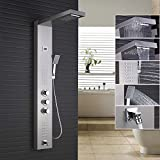 Rozin Thermostatic Rainfall Waterfall Shower Panel Rain Massage System Faucet with Jets & Hand Shower Brushed Nickel Rozinsanitary