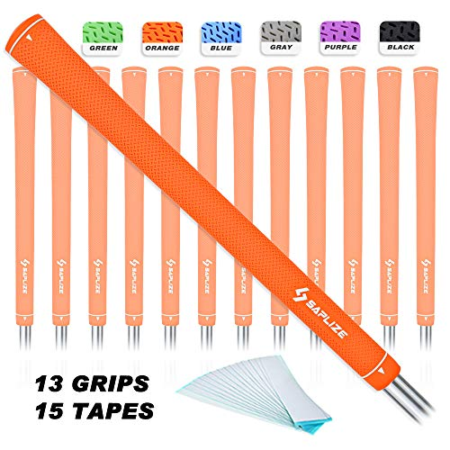 SAPLIZE CC02 Golf Grips (13 Grips + 15 Tapes), Rubber Golf Club Grips, Standard Size, Orange