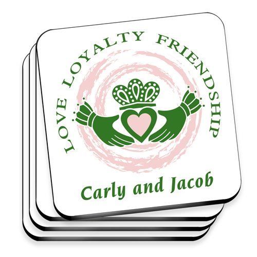 Personalized Irish Family Coaster Set - Claddagh Family Coaster Set -